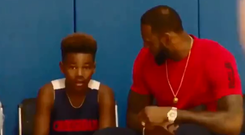 Lebron James with his son, Bryce.