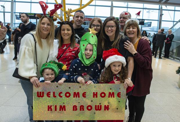 The Brown family from Coolock welcoming home Kim from New Zealand. Photo: Doug O'Connor