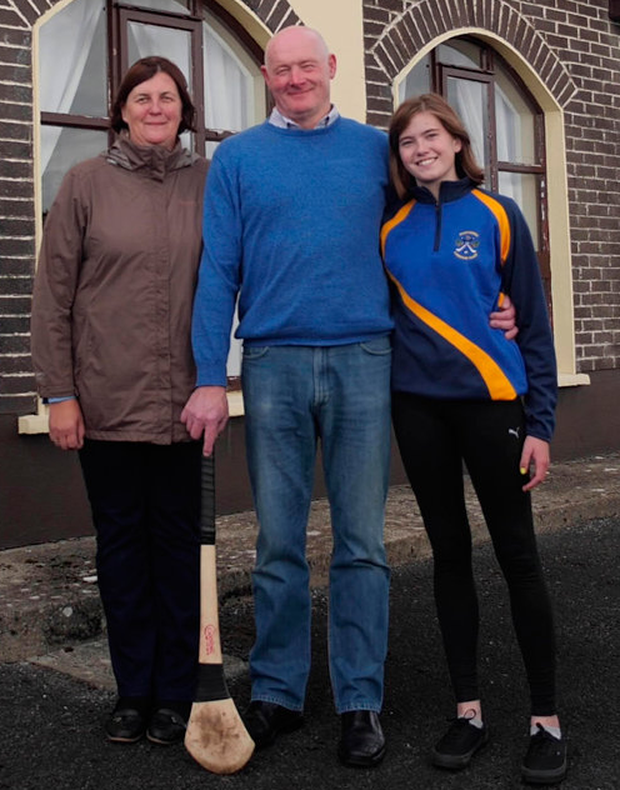 Former Galway hurling star Seán Treacy with his wife Geraldine and daughter Gráinne outside their home in Ballyspeallane, Borrisokane, Co Tipperary