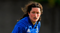 Hannah O'Connor of Leinster during the 2018 Womens Interprovincial Rugby Championship match between Connacht and Leinster at the Sportgrounds in Galway. Photo: Sportsfile