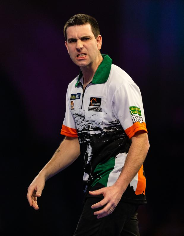 William O'Connor reacts during his third round match against Ryan Searle during Day 10 of the 2019 William Hill World Darts Championship (Photo by Paul Harding/Getty Images)