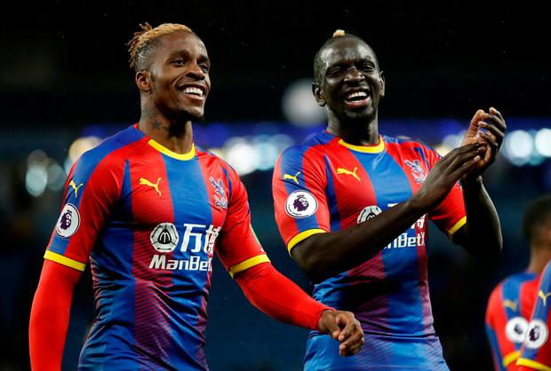 Crystal Palace's Wilfried Zaha and Mamadou Sakho celebrate after the match. Photo: Carl Recine/Action Images via Reuters