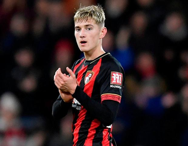 Bournemouth's David Brooks applauds fans after he is substituted. Photo: Toby Melville/Reuters