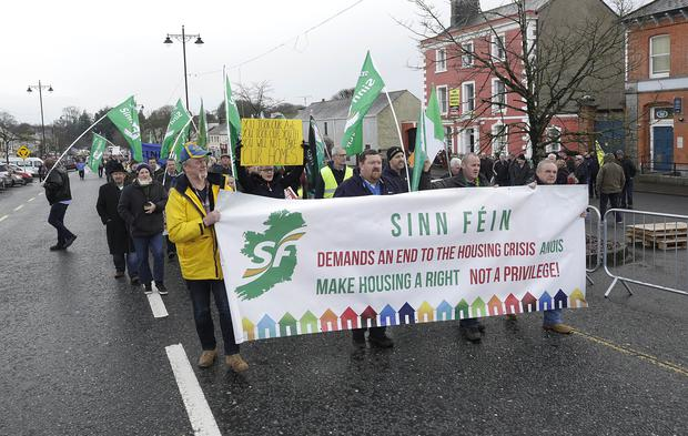 A protest against the Roscommon eviction in Stokestown, Co. Roscommon