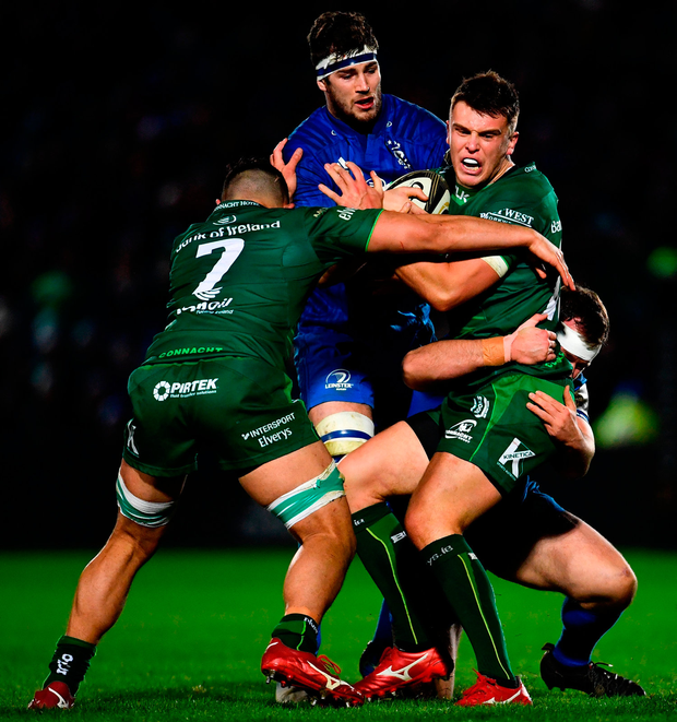 ddaa1b6ab0d Tom Farrell of Connacht is tackled by Ed Byrne of Leinster. Photo by Ramsey  Cardy