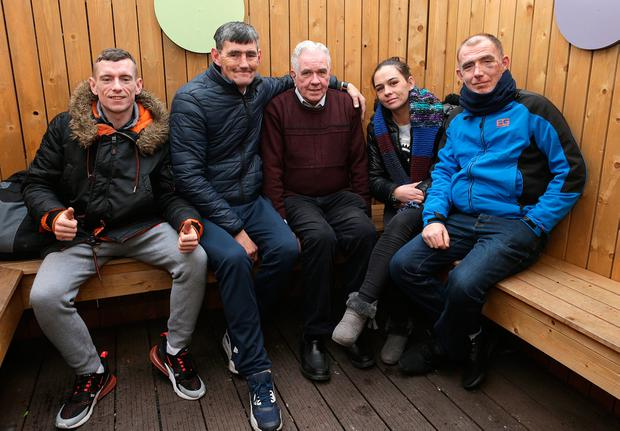 Turbulent priest: Fr Peter McVerry (centre) with (left to right) Eddie Buckley, Ger Bowes, Edwina Black and John Paul McGlue, who use the services of the Peter McVerry Trust. Photo: Damien Eagers
