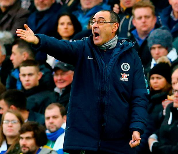 Unhappy Manager: Chelsea boss Maurizio Sarri says he was baffled by the response of his players to the Leicester City goal. Photo: Gareth Fuller/PA Wire