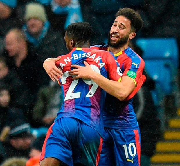 Crystal Palace's Andros Townsend celebrates after scoring his stunning long-range effort against Manchester City with team-mate Aaron Wan-Bissaka. Photo: Oli Scarff/AFP/Getty