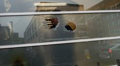 Damage to a window at KBC Bank's Dublin headquarters which was attacked last Thursday night.