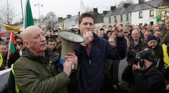 Warning: Sinn Féin MEP Matt Carthy speaks at the protest. Photo: Damien Eagers