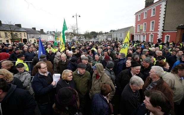 Crowd: Around 1,000 turned out for the protest in Strokestown. Photo: Damien Eagers