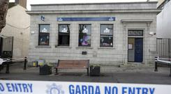 The KBC Bank branch in Swords after it was damaged in an attack. Photo: Damien Eagers