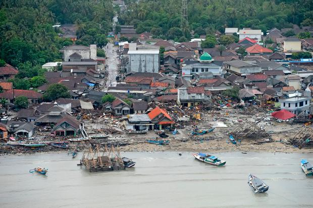 An aerial view of an affected area after a tsunami hit the coast of Pandeglang, Banten province, Indonesia, December 24, 2018 in this photo taken by Antara Foto. Antara Foto/HO-Susi Air/via REUTERS.