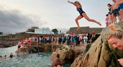 Hardy souls jump into the sea during the annual Christmas swim at Dublin's 40 Foot. Picture Credit:Frank McGrath 25/12/18
