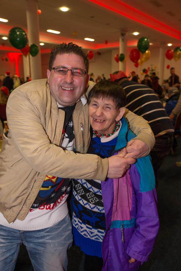Michale McCabe and his Mother Marie enjoying the annual Knights of Columbanus Christmas dinner at the RDS, Dublin. Pic:Mark Condren 25.12.2018
