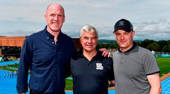 University of Limerick Director of Sport Dave Mahedy with Paul O'Connell (L) and Galway hurling manager Micheál Donoghue (R) on the campus in Limerick. Photo: Sam Barnes/Sportsfile