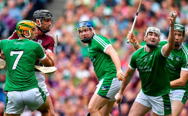 Safe hands: Tom Condon catches the sliotar in the last seconds of the All-Ireland SHC final, which ended Limerick's 45-year wait for the Liam MacCarthy. Photo: Brendan Moran/Sportsfile