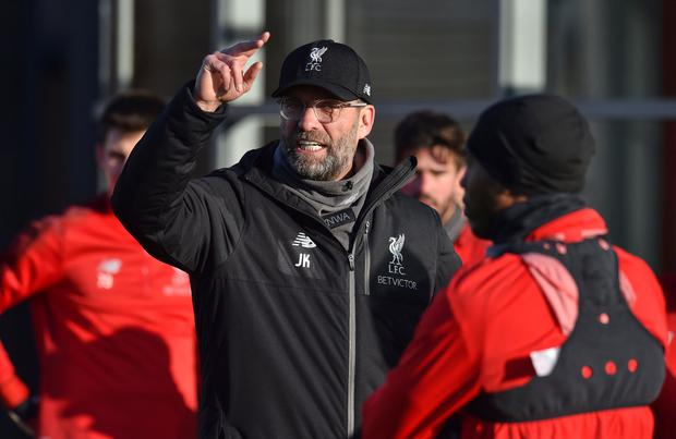 Jurgen Klopp makes a point in typically forthright fashion during training. Photo: Nick Taylor/Liverpool FC/Liverpool FC via Getty Images