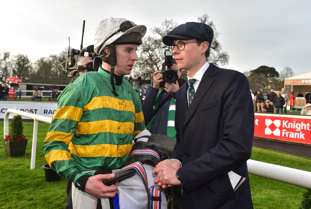 26 December 2018; Jockey Mark Walsh with trainer Joseph O'Brien after winning the Racing Post Novice Steeplechase with Le Richebourg during Day 1 of the Leopardstown Festival at Leopardstown racecourse in Dublin. Photo by Matt Browne/Sportsfile