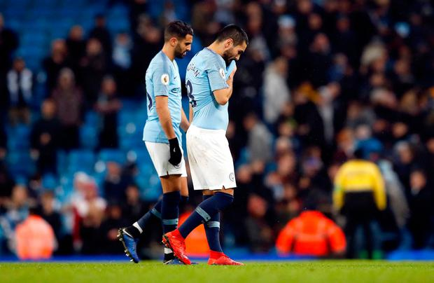 Manchester City's Ilkay Gundogan and Riyad Mahrez (left) after the Premier League match at the Etihad Stadium, Manchester. PRESS ASSOCIATION Photo. Picture date: Saturday December 22, 2018. See PA story SOCCER Man City. Photo credit should read: Martin Rickett/PA Wire.
