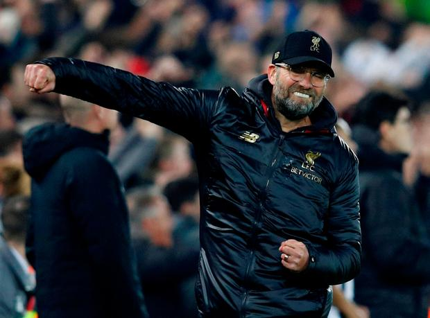 Soccer Football - Premier League - Liverpool v Newcastle United - Anfield, Liverpool, Britain - December 26, 2018 Liverpool manager Juergen Klopp celebrates their third goal scored by Xherdan Shaqiri (not pictured) REUTERS/Phil Noble