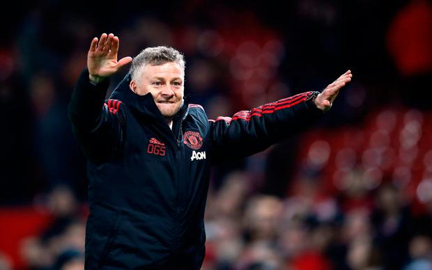 Manchester United interim manager Ole Gunnar Solskjaer celebrates the win after the Premier League match at Old Trafford, Manchester. PRESS ASSOCIATION Photo. Picture date: Wednesday December 26, 2018. See PA story SOCCER Man Utd. Photo credit should read: Martin Rickett/PA Wire.