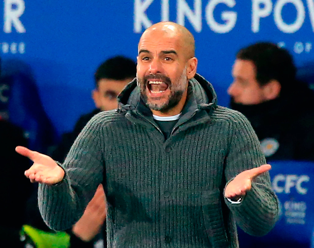 Manchester City boss Pep Guardiola shows his frustration on the sideline. Photo: Getty
