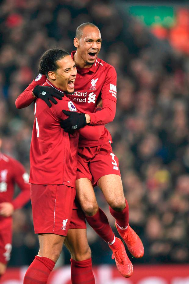 Fabinho celebrates his goal with Virgil van Dijk. Photo: Getty