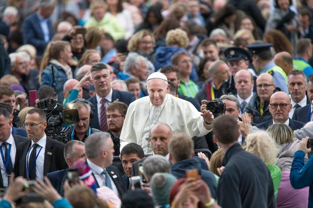Pope Francis at the Festival of Families in Croke Park. Photo: Tony Gavin