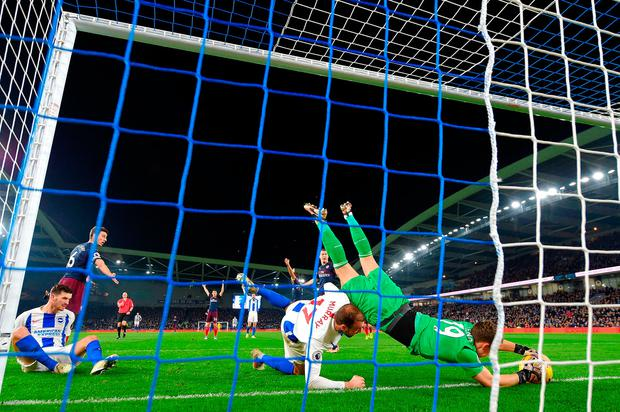 Bernd Leno of Arsenal saves the ball on the goal line. Photo: Getty
