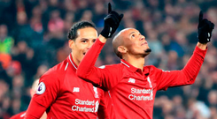 ON TARGET: Fabinho celebrates his goal in yesterday's Premier League win over Newcastle at Anfield. Photo: PA