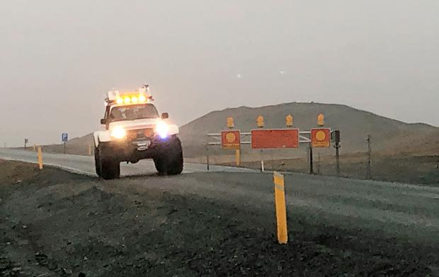 A police vehicle at a roadblock on Route 1 in Iceland, near the Jokulsarlon glacier lagoon. Three British tourists, including a child, have died after the 4x4 they were in crashed off a bridge in Iceland Photo: Owen Humphreys/PA Wire