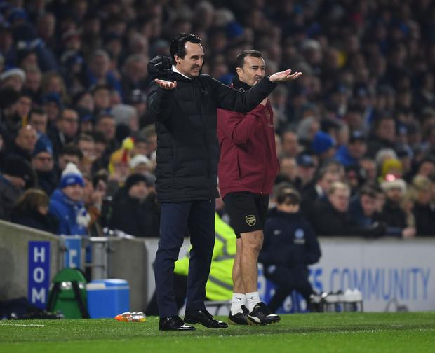 Arsenal Head Coach Unai Emery during the Premier League match between Brighton & Hove Albion and Arsenal FC at American Express Community Stadium on December 26, 2018 (Photo by Stuart MacFarlane/Arsenal FC via Getty Images)