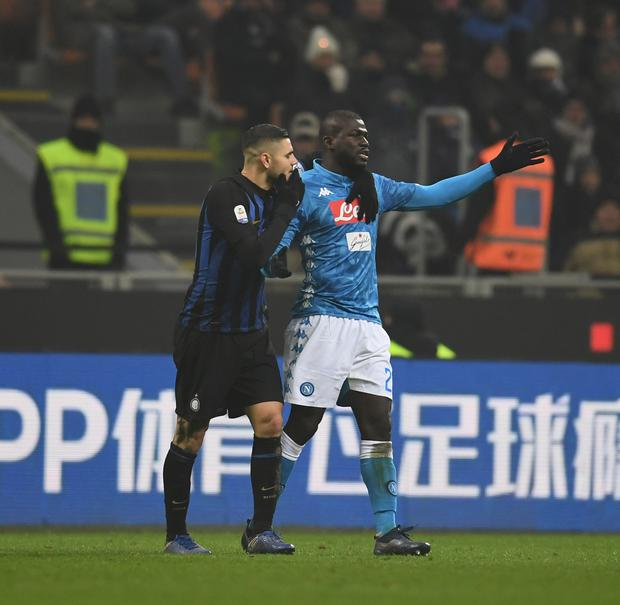 Mauro Icardi of FC Internazionale and Koulibaly of SSC Napoli reacts during the Serie A match between FC Internazionale and SSC Napoli at the San Siro (Photo by Claudio Villa - Inter/Inter via Getty Images)