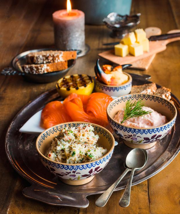 Seafood Tasting Plate: Smoked Trout Pâté, Asian-Style Crab, Smoked Salmon. Photo: Julia Dunin
