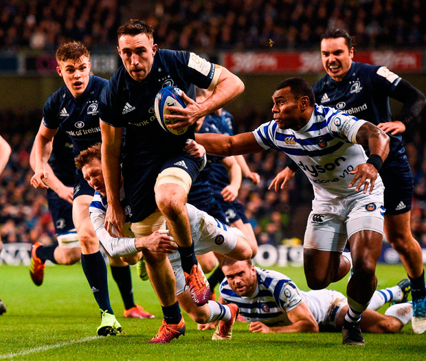Jack Conan on his way to scoring Leinster's first try against Bath in their recent Champions Cup clash at the Aviva stadium. Photo: David Fitzgerald/Sportsfile
