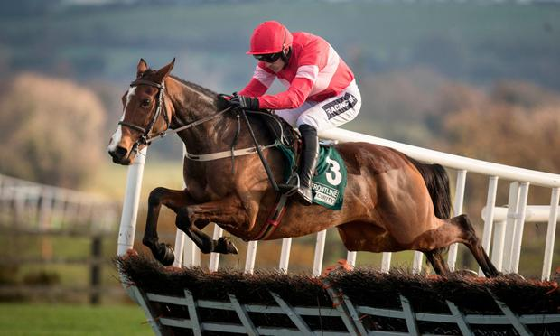 Stormy Ireland and Ruby Walsh over the last flight to win the Grabel Mares Hurdle at Punchestown. Photo: Patrick McCann/Racing Post