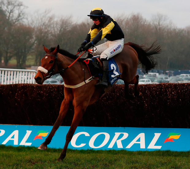 Elegant Escape ridden by Tom O'Brien on their way to victory in the Coral Welsh Grand National Handicap Chase at Chepstow yesterday.Photo: David Davies/PA Wire