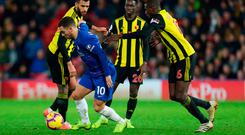 Chelsea star Eden Hazard played a crucial role in their hard-fought victory against Watford. Photo: PA