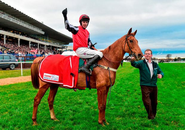 Mark Walsh, on Simply Ned, after winning the Paddy`s Rewards Club `Sugar Paddy` Steeplechase during Day 2 of the Leopardstown Festival. Photo: Matt Browne/Sportsfile