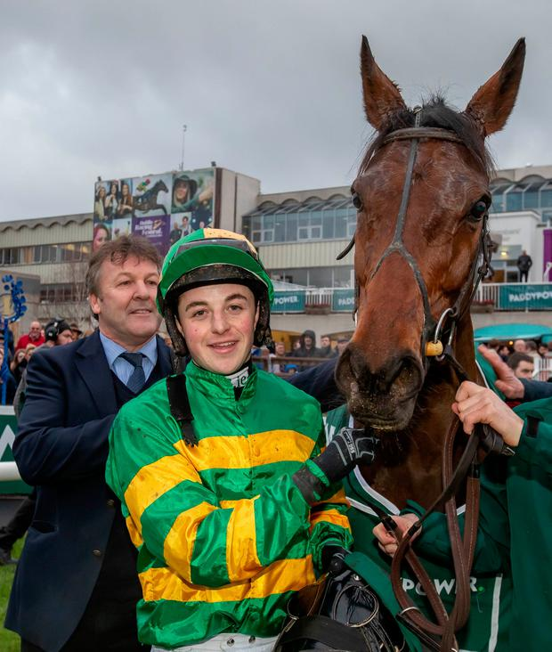 Donal McInerney with Auvergnat after their victory. Photo: INPHO/Morgan Treacy