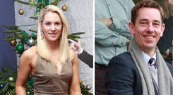 Pictured at the Paddy Power Chase day at Leopardstown yesterday was RTE's Evanne Ní Chuillinn and (right) Ryan Tubridy
