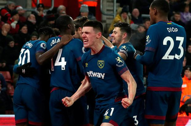 West Ham's Felipe Anderson celebrates scoring their second goal with Declan Rice and team mates REUTERS/Hannah McKay