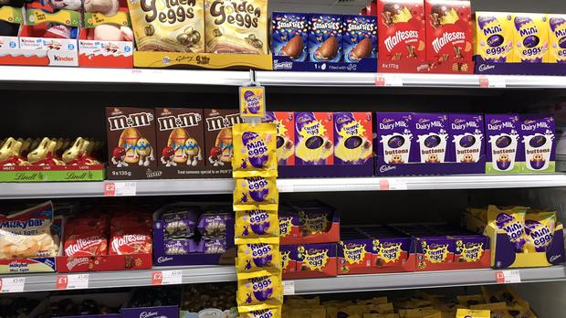 Easter eggs on display at a Co-Op store in Sandwich, Kent, on December 27 (Andrew Beer/PA)