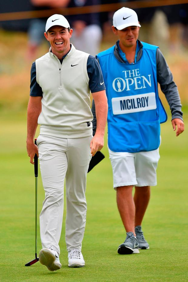 With caddie Harry Diamond during The Open Championship last July. Photo: Getty Images