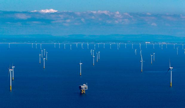 Far ahead: The world's largest working offshore wind farm off the coast of Cumbria helps Britain to generate one-third of its power from renewables – Ireland is far behind. Photo credit: Peter Byrne/PA Wire