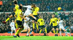 Super Leeds: Kemar Roofe heads home a dramatic injury-time winner for Leeds against Blackburn Rovers. Photo: George Wood/Getty Images
