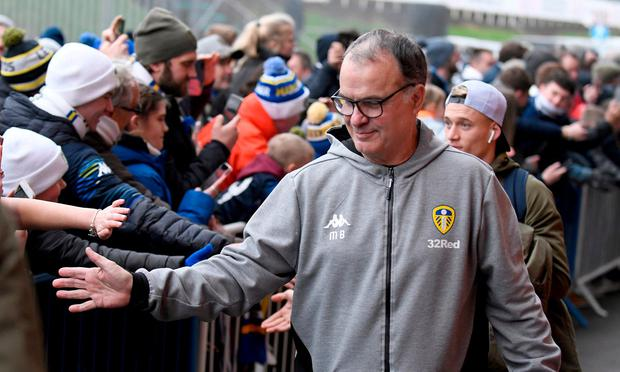 Leeds manager Marcelo Bielsa with some supporters. Photo: George Wood/Getty Images