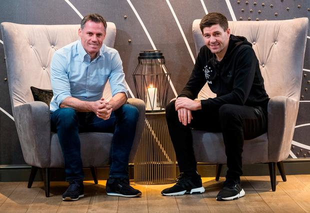 Jamie Carragher talks to his former Liverpool team-mate and now Rangers manager Steven Gerrard in Edinburgh this week. Photo: Stuart Nicol