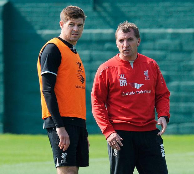 Brendan Rodgers with Steven Gerrard in 2015. Photo: John Powell/Liverpool FC via Getty Images